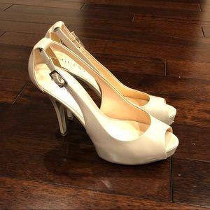 Guess Nude Peep Toe Slingback Heels (Size 8)